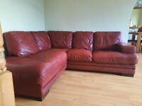 Italian Red Leather Corner Sofa