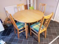 Ikea Round Beech Extending Dining Table 4 Aaron Chairs Multi Colour Seats FREE
