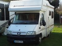 Peugoet 4 berth motorhome. Ideal for first time buyer.......get in and go!