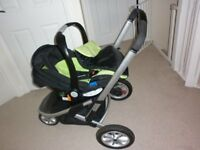 Mothercare Expedior 3 wheel Travel System in green/black - Good, clean condition