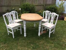 Beautiful Solid Pine Shabby Chic Table and 4 reupholstered Chairs