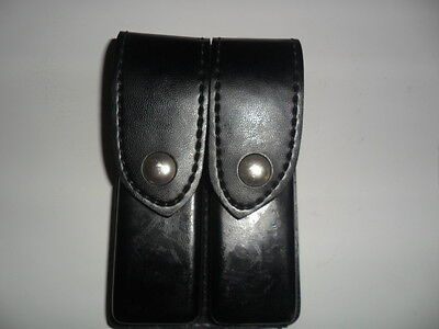 SAFARILAND BLACK LEATHER DOUBLE AMMO POUCH MODEL 79 S&W, BERETTA  MANY OTHERS