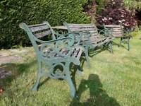 Cast iron bench and chairs