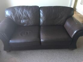 Chocolate leather three seater sofa bed