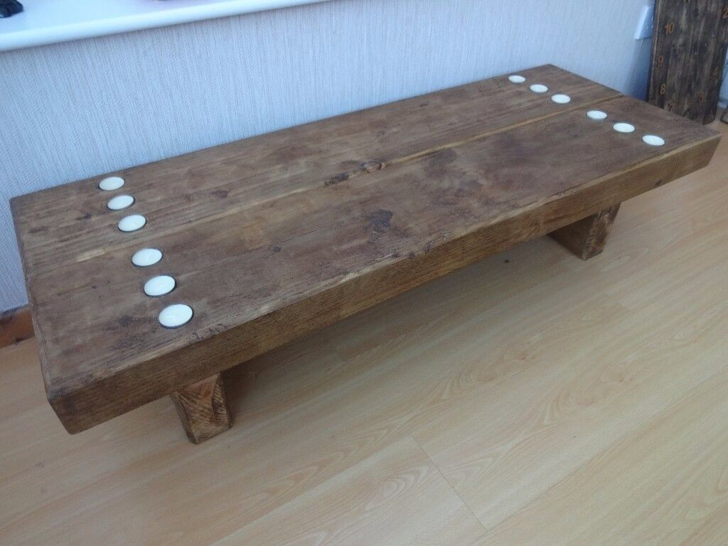 4ft Solid Reclaimed Timber Tea light Coffee Table