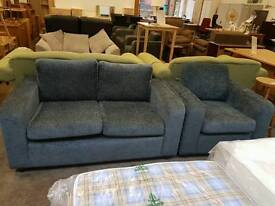 Chenille 2 seater and armchair grey fabric sofa