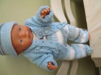 BABY BORN DOLL USED BUT VGC IN NEW HAND KNITTED BOYS CLOTHES WEES POOS DRINKS IDEAL XMAS