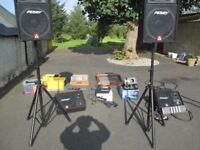 PA system, speakers, monitors and mixing desk