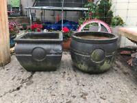 2 Iron stone garden clay pots