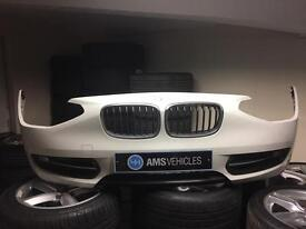 BMW 1 series f20 front bumper white sport with fog lights and kidney grilles