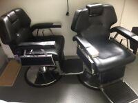 2 large salon adjustable salon/barber chairs