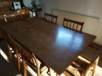 Family dining table and six chairs