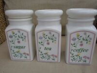 LOVELY SET OF THREE JOHNSON SUMMER CHINTZ TEA COFFEE SUGAR STORAGE JARS CANISTERS CADDIES EXCELLENT