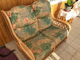 Cane Conservatory Furniture. Sofa, 2 Chairs & Nest of Tables