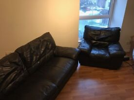 Brown Leather 3 Seater Sofa & Armchair