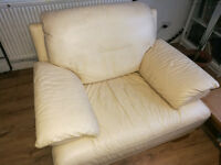 3 seats leather sofa & 2 chairs.