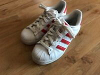 Adidas Superstars. Red and white . Size UK 3