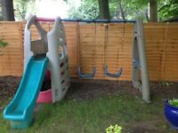 Children's swing and slide set