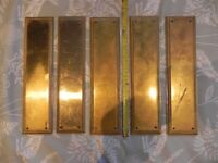 4+1 x Solid Brass Finger plates for Doors (4 identical and 1 slightly different, hence the 4+1)
