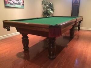 8' DUFFERIN SLATE POOL TABLE INSTALLED WITH ACCESSORIES