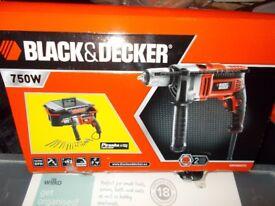 NEW PERCUSSION HAMMER DRILL 750W BLACK & DECKER ELECTRIC KEYLESS CHUCK + LARGE TOOLBOX NEW