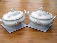 Two Superb Large China Serving Dishes