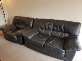 Black Leather 3 Piece Sofa Set
