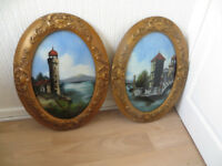 Victorian crystoleum paintings,two lovely Italian scenes in ornate gilt frame