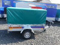 BRAND NEW MODEL 7x4 SINGLE AXLE TRAILER WITH FRAME COVER AND RAMP