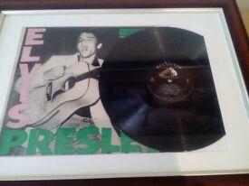 Elvis Presley. Framed first LP, First pressing. Unique.