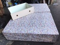 """4'6"""" Divan Bed Base with 4 built in drawers and headboard ( mattress not supplied)"""