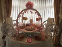 Stunning carriage candy/sweet cart for hire for parties, baby showers, weddings.