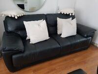 Black Leather Sofa, Armchair & Footstool