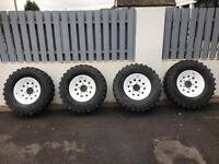 "Set Of 4 Off Road Land Rover 16"" Wheels! Steel Rims & Track Tyres! From a Defender."