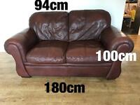 Brown Leather Sofas x2 and Arm Chair