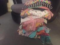 12-18 girls clothes & Clarks girls/toddler shoes size 5