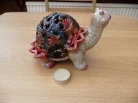 Bargain New Porcelain Tea Light Candle Holder in Tortoise Design Multi Coloured Ornament