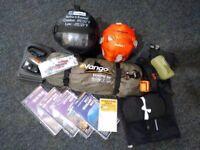 Camping gear: Vango Banshee tent, Snugpak sleeping bags, maps etc