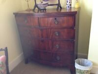 Georgian Bow fronted mahogany chest of drawers