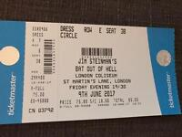 Bat out of Hell tickets - London Fri 9th June FACE VALUE