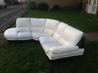 White and black original Leather designer corner sofa
