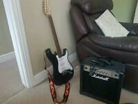 Stagg guitar and Marshall amp