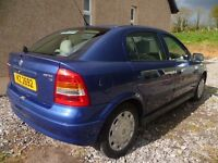 2002 Vauxhall Astra Club, 5 Door Hatchback, Petrol, No Mot or Tax