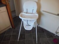 PASTA HIGH/LOW HIGHCHAIR. BRAND NEW NEVER BEEN USED BARGAIN £10.00