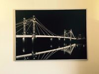 Extra Large Framed Bridge Skyline at Night 55 x 40 inches