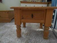 Pine lamp table soid wood including drawer bases .