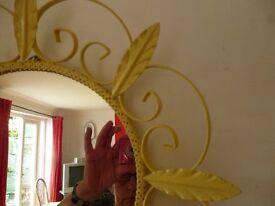 Metal strawflower painted mirror