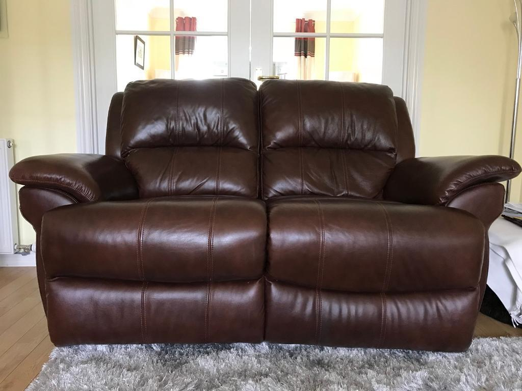 Brown Leather Two Seater Reclining Sofa In Stepps