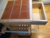 kitchen butchers block trolley