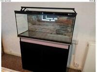 Aqua one Horizon 130 (ltr) fish tank with light bar and cabinet